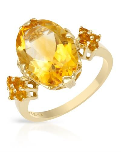 Brand New Ring With 5.80ctw Genuine Citrines  Yellow Gold - Certificate Available.