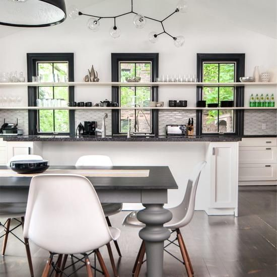 Open Kitchen Shelves And Stationary Window Decorating Ideas Window Black Trim And Window Ideas