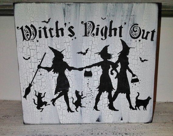 items similar to halloween decoration witch witchs night out vintage shabby chic cottage style in black white on etsy