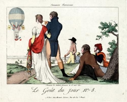 Is it a bird? Is it a plane? No, it's Jeanne-Geneviève Garnerin! On this day in 1799, Madame Garnerin became the first woman to (successfully) jump out of a balloon and land safely using a parachute, an invention of her husband. Mme. Garnerin, also believed to be the first woman to navigate a balloon sans monsiuer, retired from ballooning after her husband's death. In later life, she joined her friend Marie-Thérèse Figueur, a decorated veteran of the Napoleonic Wars, in opening a re: