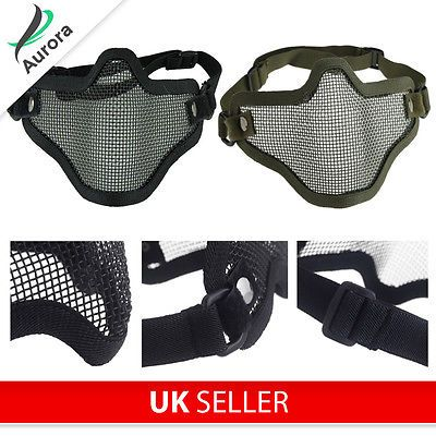 Airsoft paintball mask half face #protection #carbon #steel wire mesh,  View more on the LINK: http://www.zeppy.io/product/gb/2/272298290152/