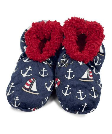 Another great find on #zulily! Blue Nautical Slippers - Adult #zulilyfinds