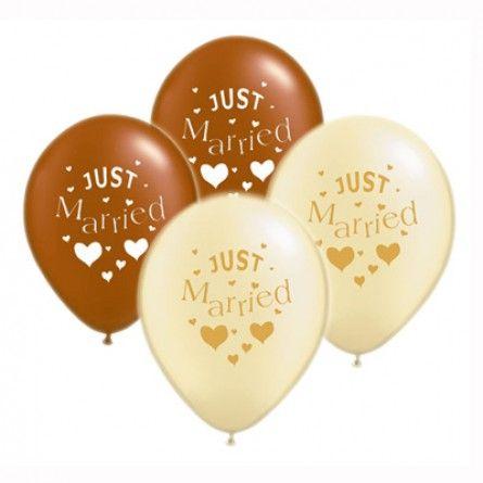 "Hochzeitsballons ""Just Married"" (10 Stück)  -braun * ivory"