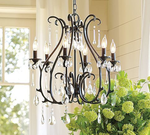Dining Room - wrought iron look to match vaults - Celeste Crystal Chandelier, 6-Arm, Blackened finish