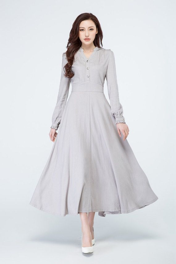 light grey dress linen dress women party dress shirt dress