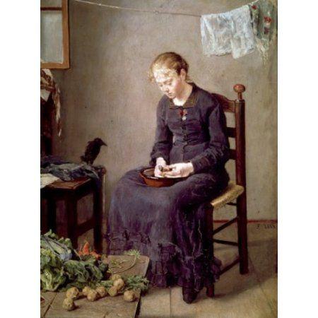 Peeling Potatoes Fritz Karl Hermann von Uhde (1848-1911 German) Canvas Art - Fritz Karl Hermann von Uhde (18 x 24)