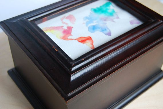 Travel Keepsake/Memory wooden box with watercolor world by WAIQ