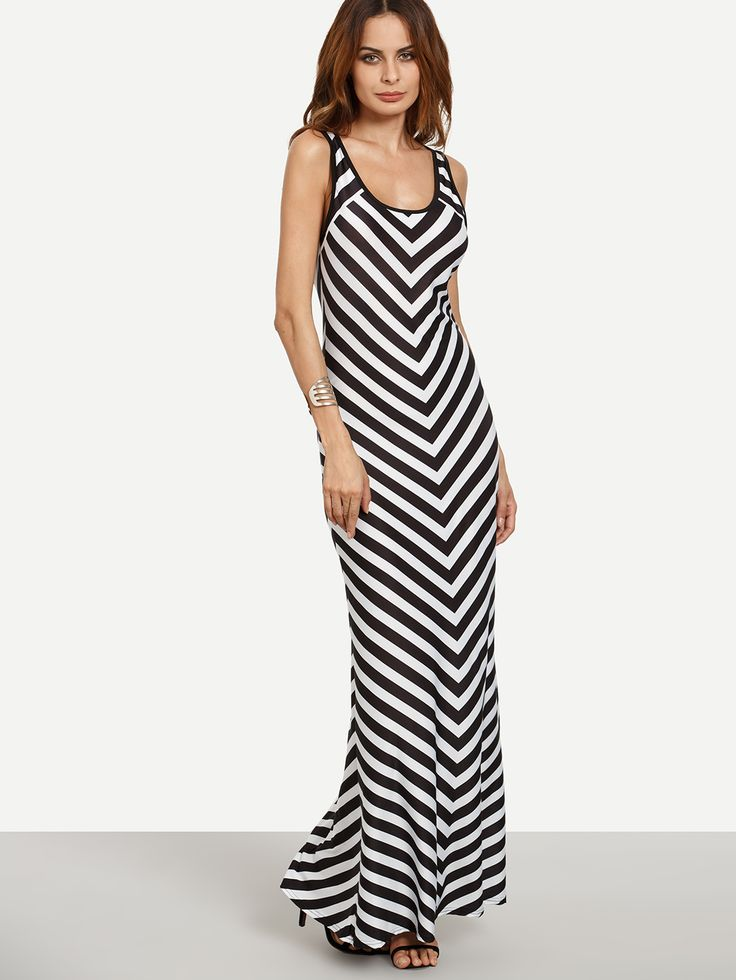 Black+White+Chevron+Print+Maxi+Tank+Dress+13.99