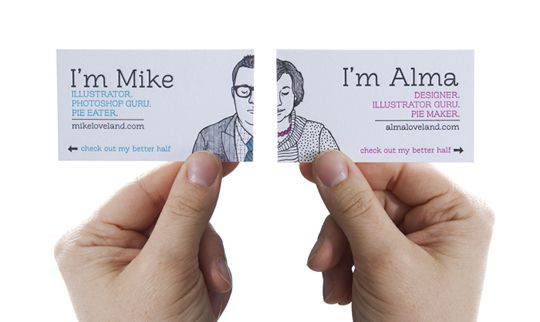 """Check out my better half"" - husband and wife team business cards. Flip the card and there's the spouse. Designed by Alma & Mike Loveland"