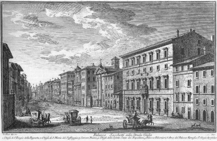 Palazzo Sacchetti sulla Strada Giulia by Giuseppe Vasi