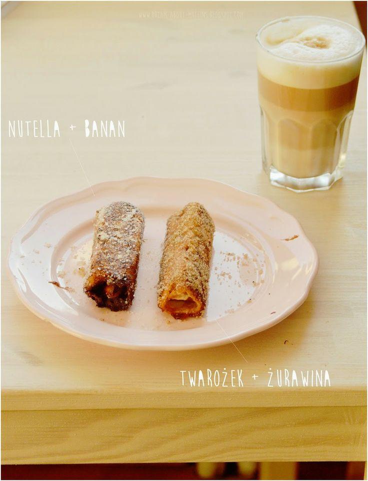 Dream about muffins: Zrolowane tosty francuskie z nutellą i bananami.