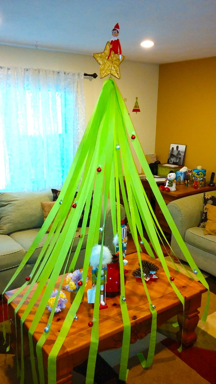 Elf on the Shelf idea - Elf makes his very own Christmas tree: