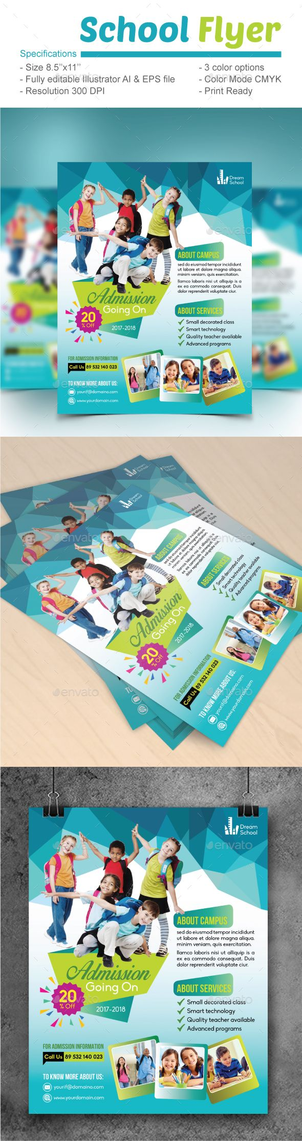 School Flyer Design Template - Flyers Design Print Template Vector EPS, AI Illustrator. Download here: https://graphicriver.net/item/school-flyer/19400231?ref=yinkira