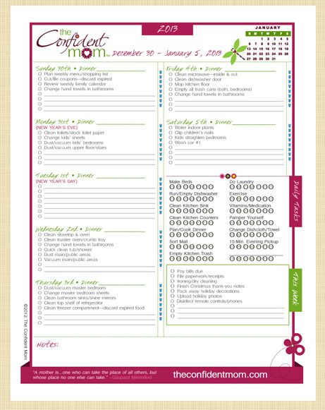 Busy Mom Planner by The Confident Mom: Get Your Household Organized in 2013 Giveaway 12/30