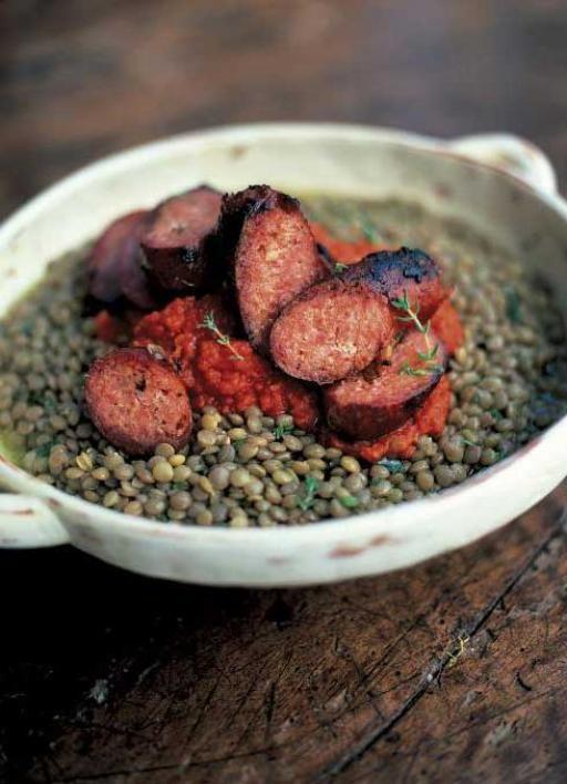 sausages & green lentils with tomato salsa (salsicce con lenticchie verdi e salsa di pomodoro) | Jamie Oliver | Food | Jamie Oliver (UK)