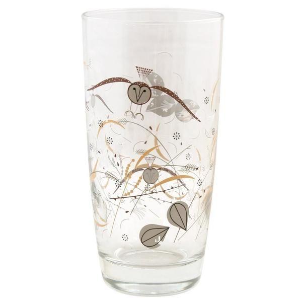 DETAILS Designer Todd Oldham rediscovered the illustrations of American Modernist Charley Harper (1922-2007). Harper's elegant birds and ecosystems, originally drawn for school biology books in the 1950's are now a beautiful dish and glassware collection designed by Todd Oldham exclusively for us! Featuring Harper's windblown owl illustration, this glass is the perfect proportion for serving a glass of lemonade, iced tea or water! Simple and sturdy, this shape will sit easily in y...