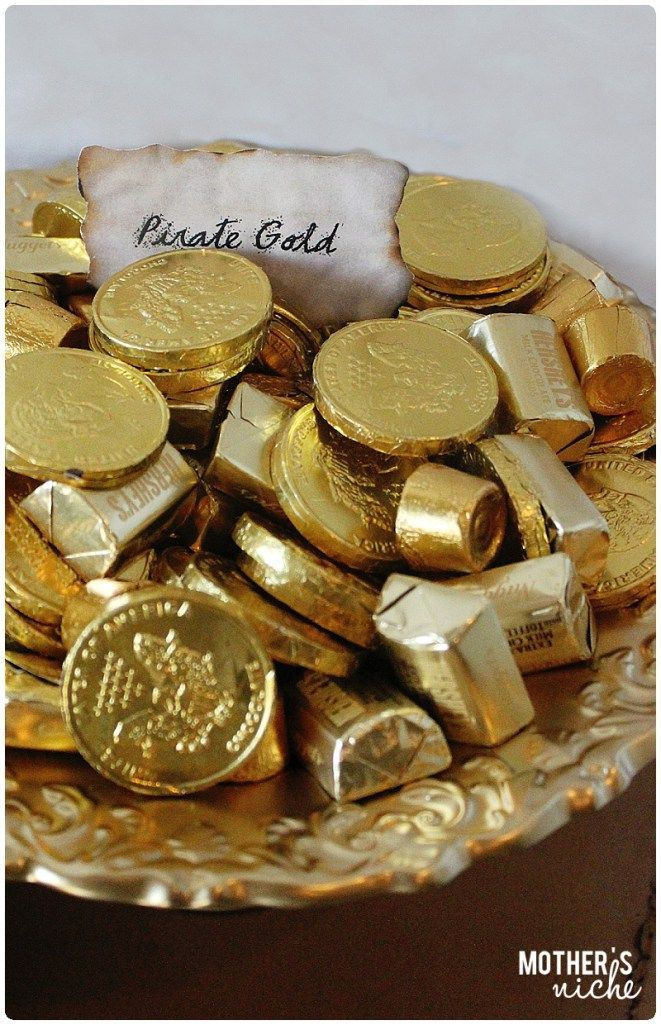 Gold Chocolates for pirate gold + Other fun pirate party ideas. Birthday party for kids