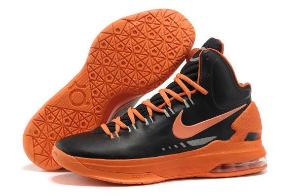 Black and Team Orange Nike Zoom KD 5 554988 100 Kevin Durant Basktball Shoes