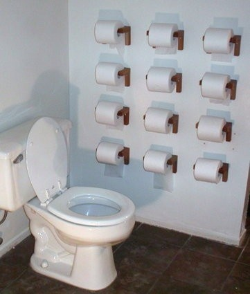 I'd call this a well-stocked bathroom!