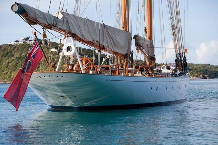 Elena - wonderful yacht, 2009 replica of a Herreshoff racing schooner.