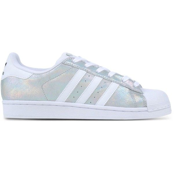 Adidas Originals Low-Tops & Trainers found on Polyvore featuring shoes, sneakers, silver, adidas originals, leather trainers, leather low tops, leather flat shoes and adidas originals shoes