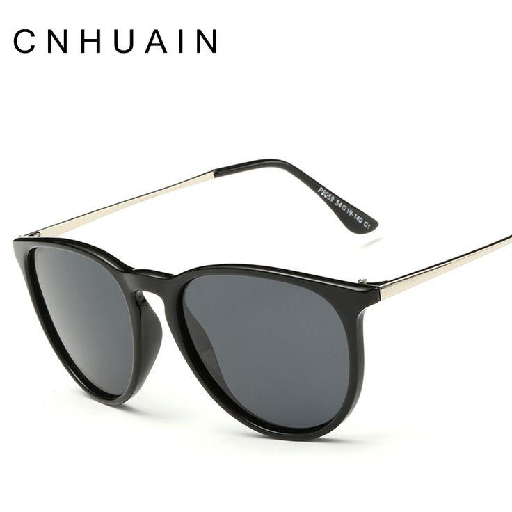 Cnhuainレトロラウンド偏光サングラス女性ブランドデザイナーの高級サングラス男性メタルフレーム女性oculos男性uv400