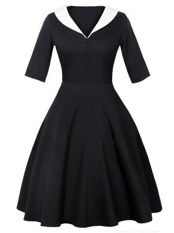 GET $50 NOW   Join RoseGal: Get YOUR $50 NOW!http://www.rosegal.com/vintage-dresses/shawl-collar-50s-dress-1206309.html?seid=9320315rg1206309