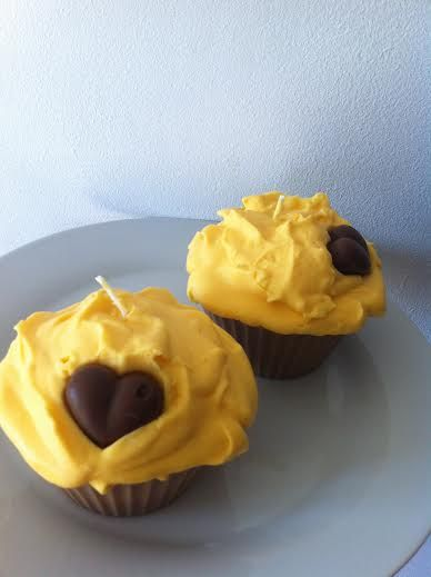 Chocolate Orange Cupcake candle decorated with a little chocolate heart.
