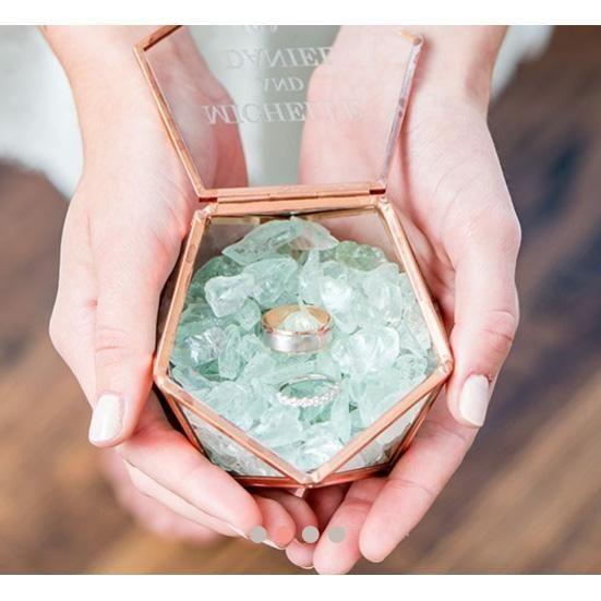 Personalized Glass Geometric Copper Wedding Ring Jewelry Box