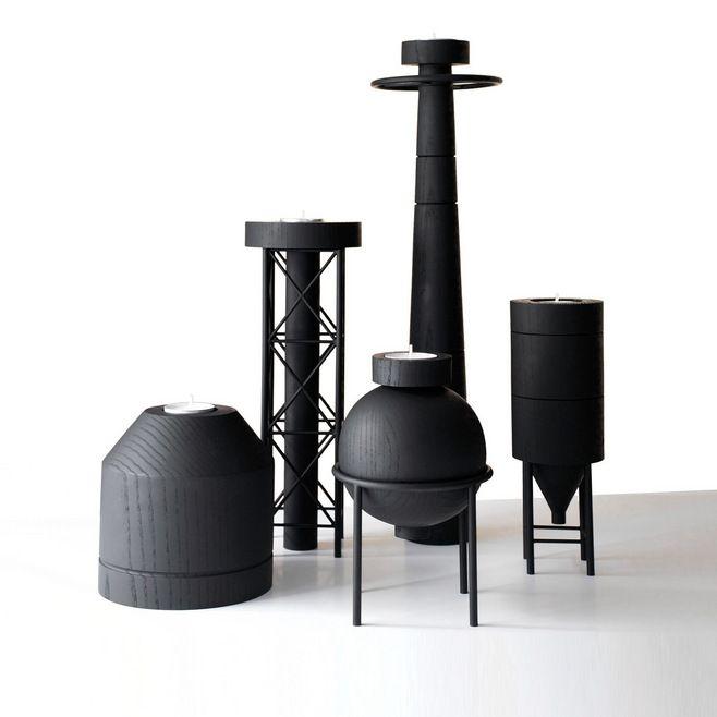 以工厂造型为灵感的烛台设计