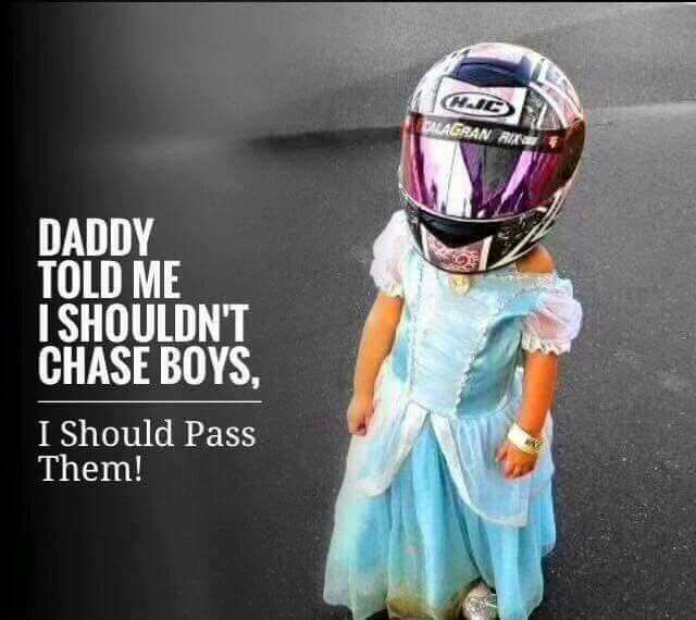 Motorcycle girl.  Start them young
