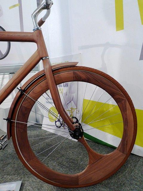 wood bike with wood rim