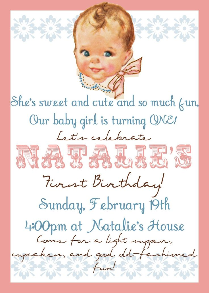 vintage 1st birthday girl invitations   LOVE me a vintage themed first birthday party!