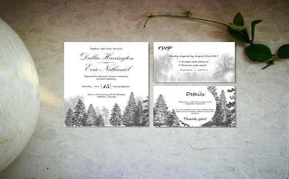 Minimal forest wedding invitation template Digital black and