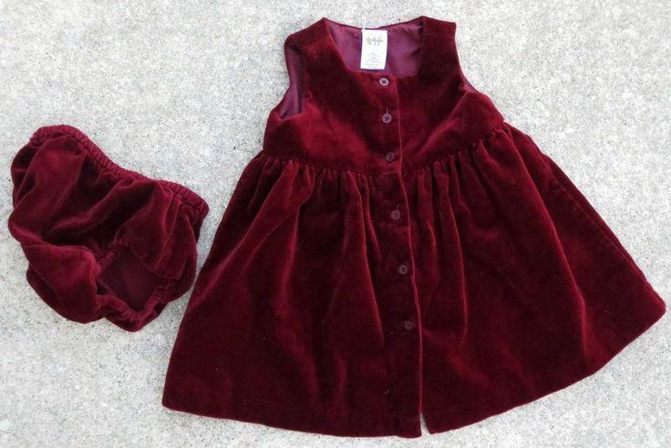 Baby Gap Girls Red Velvet Dress And Diaper Cover Size 6 12