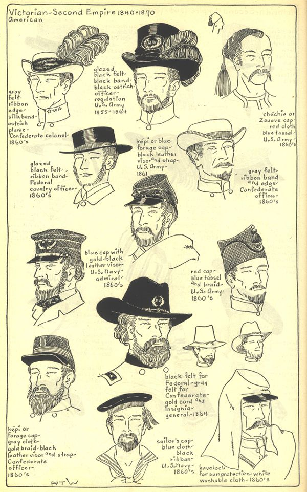 Headdresses, American Civil War. Village Hat Shop Gallery, Chapter 15 - Victorian and Second Empire 1840-1870.