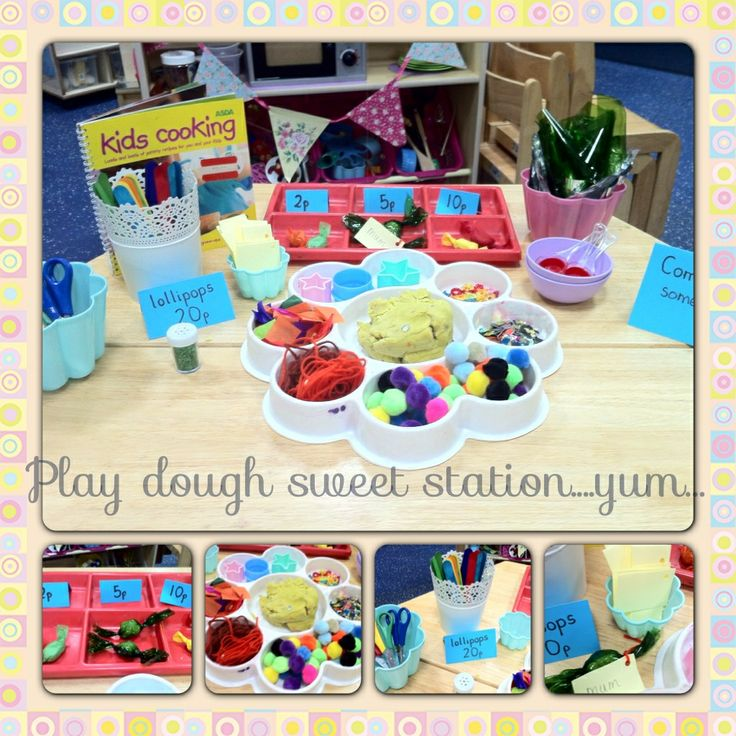 Play dough sweet station, children are encouraged to make sweets using play dough and college decorations then wrap them in coloured cellophane using twisting skills. Extra opportunities to mark make by writing tags.