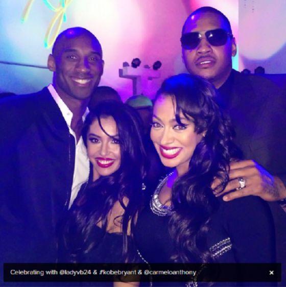 Kobe-Vanessa X Melo-Lala Michael Jordan's 50th Birthday party NBA All-Star 2013