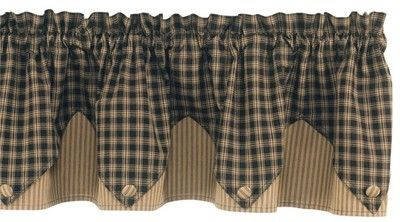 Country Cottage Black Plaid Ticking Pointed Valance Primitive Homespun Rustic   eBay