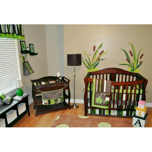 Amazon.com: 10pc Frog Nursery Crib Bedding Set Brown & Green - Pollywog Pond: Baby