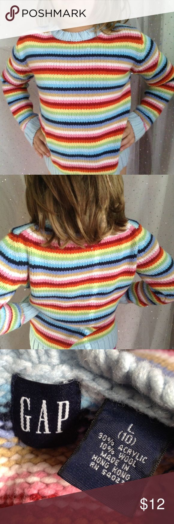 🎀 GIRLS 10 Gap Rainbow Sweater This sweet sweater truly goes with anything!  Medium weight cable.  90% acrylic, 10% wool, machine wash.  Model is size 10. GAP Shirts & Tops Sweaters