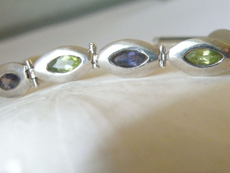 Sterling Silver Genuine Peridot Amethyst Tennis Station Bracelet  #Handmade #Tennis