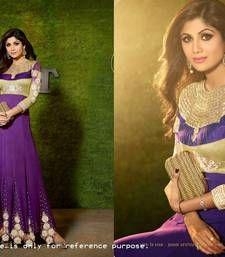 Buy purple embroidered georgette semi stitched salwar with dupatta bollywood-salwar-kameez-online online