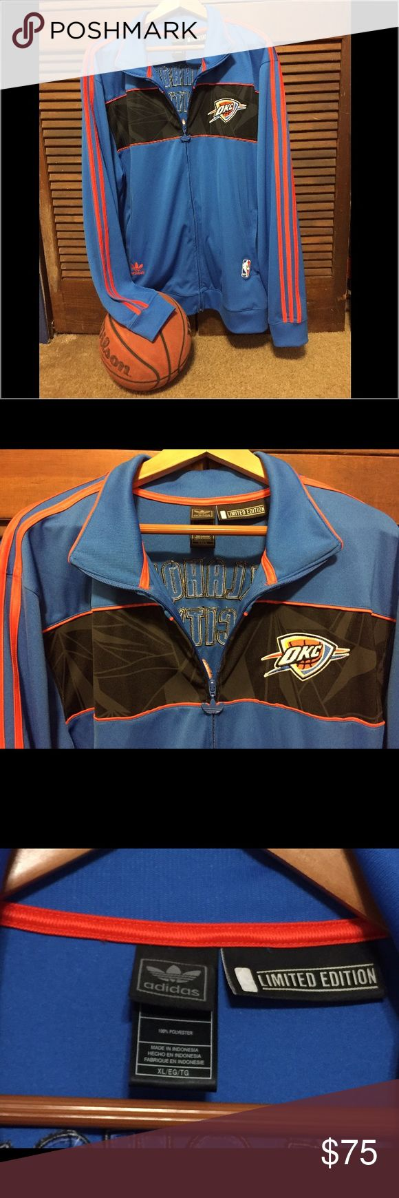 """🏀Adidas OKC Thunder Jacket 🏀🏀 Men's Adidas """"Limited Edition"""" Track Jacket! Size XL. 💯 polyester. Zip front with 2 side zip pockets. Easy pull Adidas logo toggle on zipper. OKC Thunder embroidered patch on front chest. NBA logo on bottom front pocket & other pocket has the Adidas logo. The color is Royal Blue with Black across the chest area & bright orange trim stripes down each sleeve. Oklahoma City & Adidas logo embroidered on back. What more can I say...this is one awesome jacket…"""