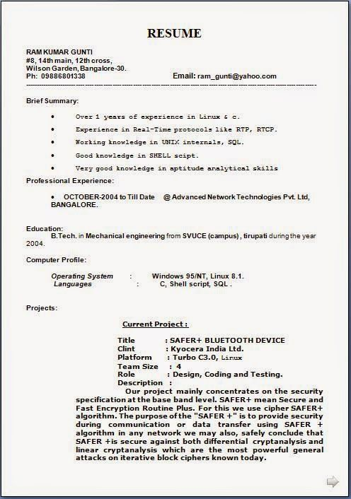 Resume Cv Format Resume Format For Word Cv Sample Word Docresume