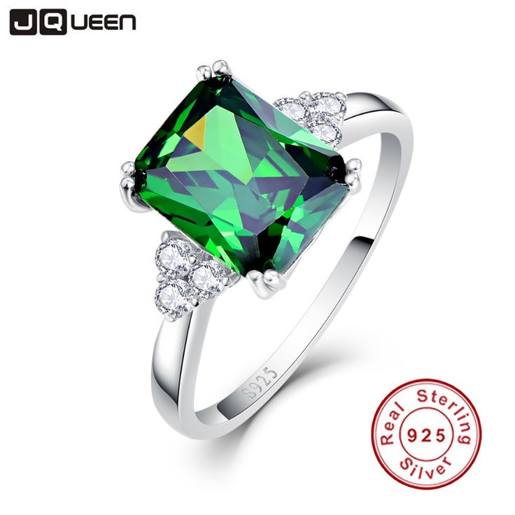 JQUEEN New Fashion 5.3ct Nano Russian Emerald Ring 925 Solid Sterling Silver Set High Quality Best Brand Jewelry For Women