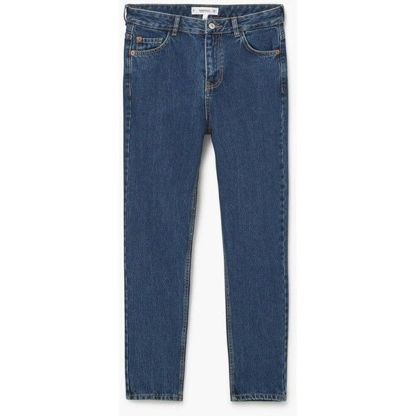 MANGO Relaxed Cropped Mom Jeans (80 CAD) ❤ liked on Polyvore featuring jeans, dark blue, blue jeans, high-waisted jeans, zipper jeans, 5 pocket jeans and high waisted cropped jeans