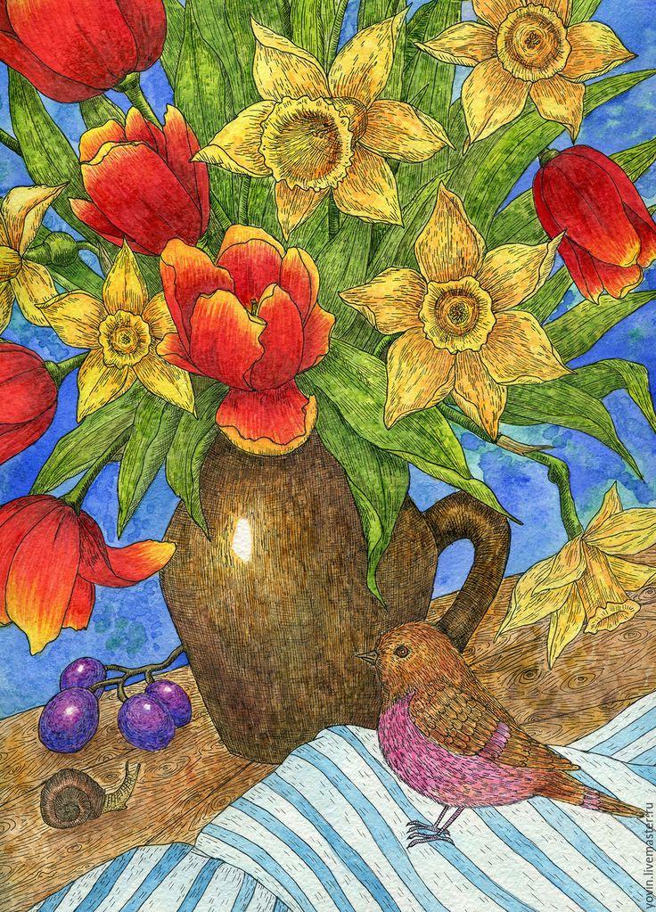 """Купить """"Весенняя радость"""" Букет нарциссов и тюльпанов. Картина акварелью - комбинированный, картина, картина с цветами"""