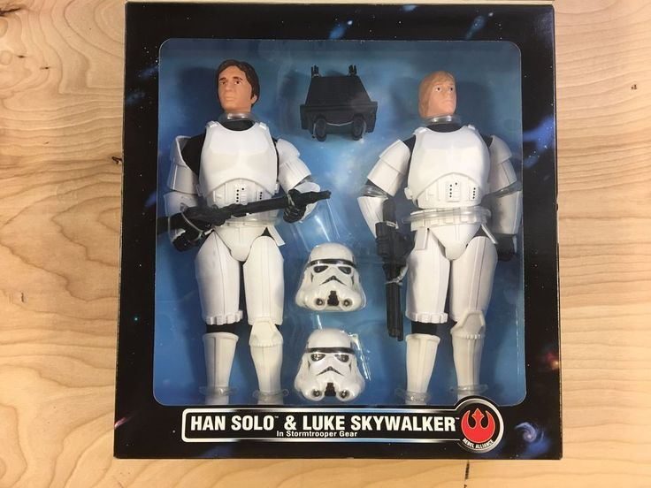 "1996 STAR WARS HAN SOLO & LUKE SKYWALKER 12"" Stormtrooper Figures KB TOYS #Kenner"