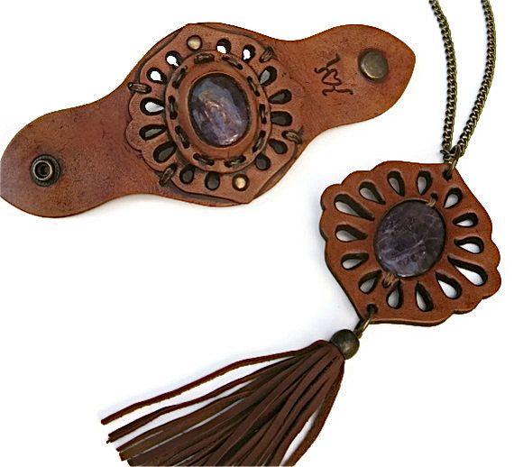 Amethyst Gemstone Pendant and Amethyst Gemstone Leather Cuff Set